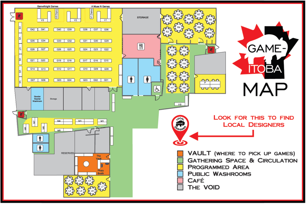 Map of the venue, showing the table numbering in the various programming areas. For asssitance finding your table please ask at our registration desk.